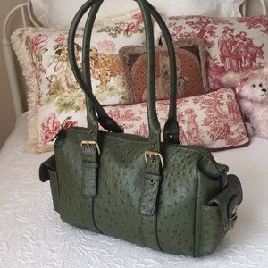 Olive green faux ostrich satchel